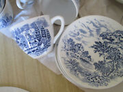 Vintage Wedgewood China Countryside Blue 23 Pieces Plates Bowls Cups Saucers
