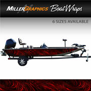Spiral Red Boat Wrap Kit 3m Cast Vinyl Graphic Decal - 6 Sizes Available