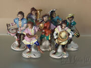 Volkstedt Porcelain Dresden 7 Pc Monkey Band-drum/horn/tuba Cymbals Figurines