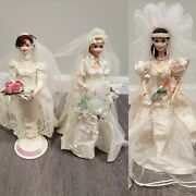 Set Of 3 Porcelain Bride Barbie Dolls Star Lily Romantic Rose And Blushing Orchid