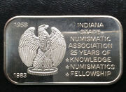 1983 Indiana State Numismatic Association 25 Years Silver Art Bar A2269