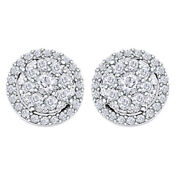 1/2ct Diamond Round Cluster Halo Stud Earrings 14k White Gold Christmas Special