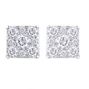 1 Ctw Diamond Square Screwback Stud Earrings In 14k White Gold Christmas Special