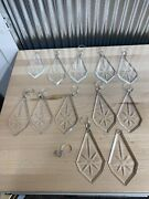 Entire Lot - Large Prism Crystal Chandelier Etched Glass Heavy