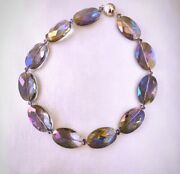 Woman's Beautiful Blue Purple Iridescent Large Crystal Choker Necklace 17 Inches