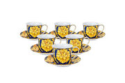 Royalty Porcelain 12-pc Luxury Floral Blue Tea Or Coffee Cup Set, 24k Gold