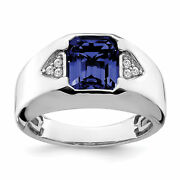 Lex And Lu 14k White Gold Created Sapphire And Diamond Menand039s Ring Lal4817