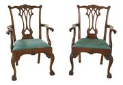 48707ec Pair Stickley Ball And Claw Carved Mahogany Arm Chairs