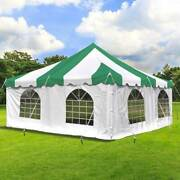 Weekender 20x20and039 Party Pole Tent With 4 Sidewalls Green-white Waterproof Canopy