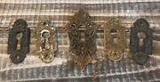 Set 5 Antique 1880's Russell And Erwin Solid Bronze Key Hole Plates Door Hardware