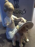 Lladro An Elegant Touch 6862 Girl And Dog Wearing A Hat
