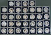 32 Official Super Bowl 1 - 32 Pure Silver Proof 2oz Each Medals Box And Coa