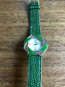 Ladies Green/silver Coloured Blob Watch And Straps W829/13