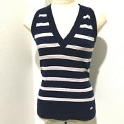 Stripped Sleeveless Knit Apparel Tops Knit Navy/lilac Cashmere