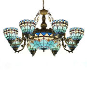 Style Baroque Stained Glass Chandelier Living Room Ceiling Light Fixture