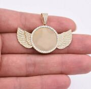 1 3/8 Angel Wings Picture Frame Memory Cz Pendant Real Solid 10k Yellow Gold