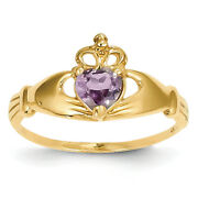14k Yellow Gold Cz June Birthstone Claddagh Heart Ring D1797 Size 6