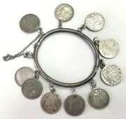 Victorian Silver Hinged Women's Bangle Us Liberty Dimes Engraved 10 Love Tokens
