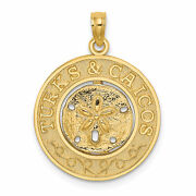 Lex And Lu 14k Yellow Gold Turks And Caicos Round Frame W/sand Dollar Charm