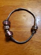 Pandora Barrel Clasp Bracelet Sterling Silver 7.5 With 2 925 Beads And Spacer