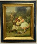 Antique Oil Painting Young Anglers Children After Victor Gabriel Gilbert Picture