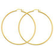 14k Yellow Gold Polished 2mm Round Hoop Earrings T924