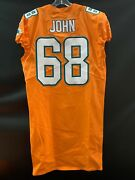 68 Ulrick John Miami Dolphins Game Used Team Issued Orange Color Rush Jersey