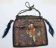 1930and039s Chinese Brocade Silk Embroidery Purse Pouch Tassel Shoulo Figure