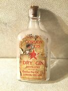 Gordon And Co's Dry Gin Distillery London Paper Label Bottle 1900s Antique- Empty