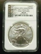 2011 Silver Eagle Ngc Ms69 Als Label 25th Anniversary Free Shipping Gs5