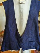 Luxurious Brioni Menand039s Size 44 L Parsley Blue And Black 3 Bottom 100 Silk Vest.