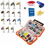 Fishing Tackle Box And Spinner Lure Kit Double Layer Hard Plastic 28 Piece Andamp