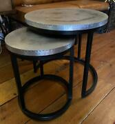 Industrial Vintage Nest Of Two Side Tables - Round - Zinc Style Metal Tops