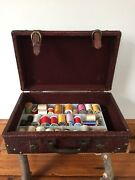 Vintage Cotton Poly Silky Thread Sewing Kit Leather Suitcase Box Book Iron Ons