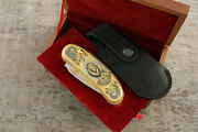 Craft Authorand039s Russian Forged Steel Gold Plated Knife Lion