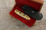 Craft Authorand039s Russian Forged Steel Gold Plated Knife Leopard