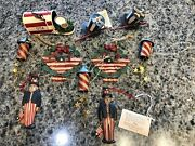10 Midwest Importers Lot Of Metal Patriotic Christmas Ornaments Red White Blue