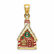 Lex And Lu 14k Yellow Gold 3d Enamel Gingerbread House Charm