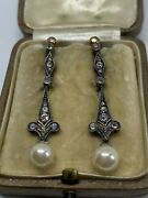 Antique Rose Gold Silver, Enamel, Pearl And Paste Drop Screw Top Earrings Boxed