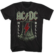 Acdc Mens New T-shirt In Sizes Sm - 5xl Hells Bells In 100 Black Cotton