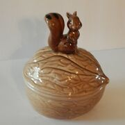 Vintage Brown Squirrel On A Walnut Candy Nut Dish Armbee San Francisco Made In J