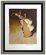Norman Rockwell Hand Signed Color Lithograph No Harm Huckleberry Finn Framed Art