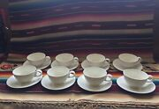 8 Mid Century Modern Eva Zeisel Ceramic Hi White Cups And Saucers By Hallcraft