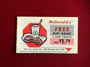 1968 Mcdonaldand039s Un-used Free Gift Book Coupons Scarce / Vintage