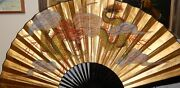 Huge Chinese Dragon Design Gold Gilt Watercolor Fan Painting Signed