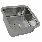 Nantucket Sinks Sqrs-7 16.5 Square Hammered Stainless Bar Sink In Polished