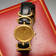 Womens Baume Mercier Gold Watch With Box   18k Gold Oval Case, Gold Dial