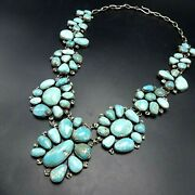 Kathleen Chavez Navajo Sterling Silver Carico Lake Turquoise Cluster Necklace