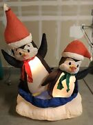 Gemmy 5 Ft Lighted Penguins On Saucer Christmas Airblown Inflatable Working