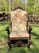 Antique Throne Chair Armchair With Decorative Pillow ------damaged